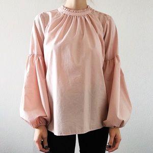 Worthington Bishop Sleeve Blouse in Pink Ruffle XL